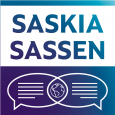Purple, teal and white image showing the name SASKIA SASSEN above dialogue bubbles and a globe