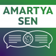 Purple, green and white image showing the name AMARTYA SEN above dialogue bubbles and a globe