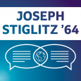 Purple, teal and white image showing the name JOSEPH STIGLITZ '64 above dialogue bubbles and a globe