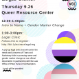 Poster for QRC/WGC event Pop-up Trans Legal Clinic