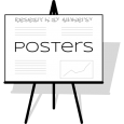 A schematic drawing of a poster on an easel