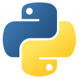 A stylized representation of two intertwined python snakes