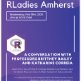 Event poster with white text on a purple background, with a hexagonal RLadies logo