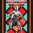 Event poster featuring a muscular African dancer wearing a loincloth and body paint, in front of a colorful patterned background