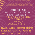 Lunchtime Discussion With Safe Passage: IPV in LGBTQ+ Communities