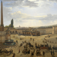 Painting of a cobblestoned city square filled with people and horse-drawn carriages