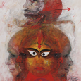 Sunil Das (Indian, 1939–2015). Untitled (Shiva?). Mixed media on card. Gift of Leonard Gordon (Class of 1959) in memory of Professor Frank Trapp.
