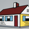 Primary-colored illustration of a house against a gray background
