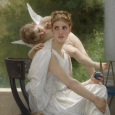 Painting of a winged cherub leaning over the shoulder of a seated woman dressed in white
