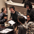 Members of Amherst College Madrigal Singers in Johnson Chapel