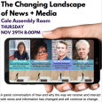 Event poster featuring photos of the four panelists displayed on a smartphone