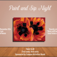 Poster promoting CAB's Paint and Sip Night