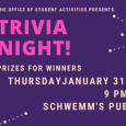 Poster promoting a trivia night at Schwemm's
