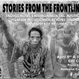Event poster showing a black-and-white photo of a crowd of indigenous people holding up their right index fingers in protest