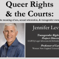 Event flier featuring a headshot of Jennifer Levi wearing a blue pinstriped collared shirt