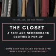 The Closet is a pop up free and secondhand clothing store organized by the Office of Environmental Sustainability! Sell or donate your clothes this week through Saturday at the bins located around campus.