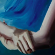 An oil painting depicting two hands clasping each other against an oceanic background. A frame capture from the film Deej: Inclusion Shouldn't Be a Lottery
