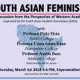 Event poster featuring a sketch of a map of South Asia and female empowerment symbols