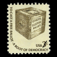 US Postage Stamp with a Ballot Box