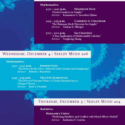 Math & Stats Lightning Thesis Talks - Monday 12/2, Wednesday 12/4, Thursday, 12/5, 4:30 p.m.