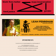Event poster featuring a photo of Leah Penniman and a cartoon of a farmer standing in a field