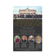 Event poster featuring a photo of a crowd of people standing on the Berlin Wall, and four small photos of Amherst faculty panelists