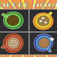Overhead view of four colorful mugs of coffee, tea, and hot cocoa