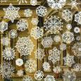 """""""Snowflakes"""" by Tom Friedman, showing large white snowflakes superimposed on a painting of the ornate interior of a building"""