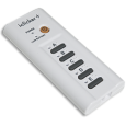 The i>Clicker, a device with a power button and five buttons marked A-E.