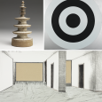 A collage of three photos showing artworks from the Mead, all in neutral colors (black, white, gray and tan)