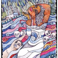 Colorful, stylized depiction of human figures and skulls in a flowing river