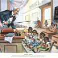 Political cartoon depicting Uncle Sam as a schoolteacher to children who represent various colonies and ethnic groups