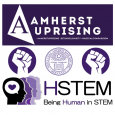 "Amherst uprising logo with #AmherstUprising, #SitInSolidarity, #RadicalCompassion on top; in middle: left solidarity fist in circle, center Amherst seal, right solidarity fist in circle; bottom: HSTEM logo with four head sillouettes and ""HSTEM"" above ""Being Human in STEM"""