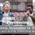 "Event poster showing the two hosts of ""Still Processing"" sitting outdoors"