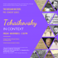 Event poster featuring triangular photos and images of Tchaikovsky, sheet music and Russian architecture