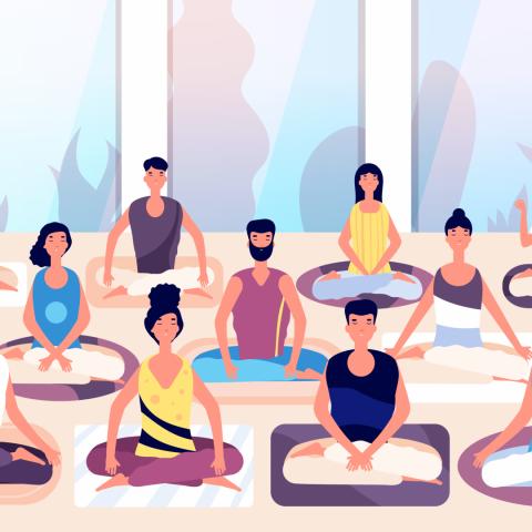 Cartoon of people seated in meditation