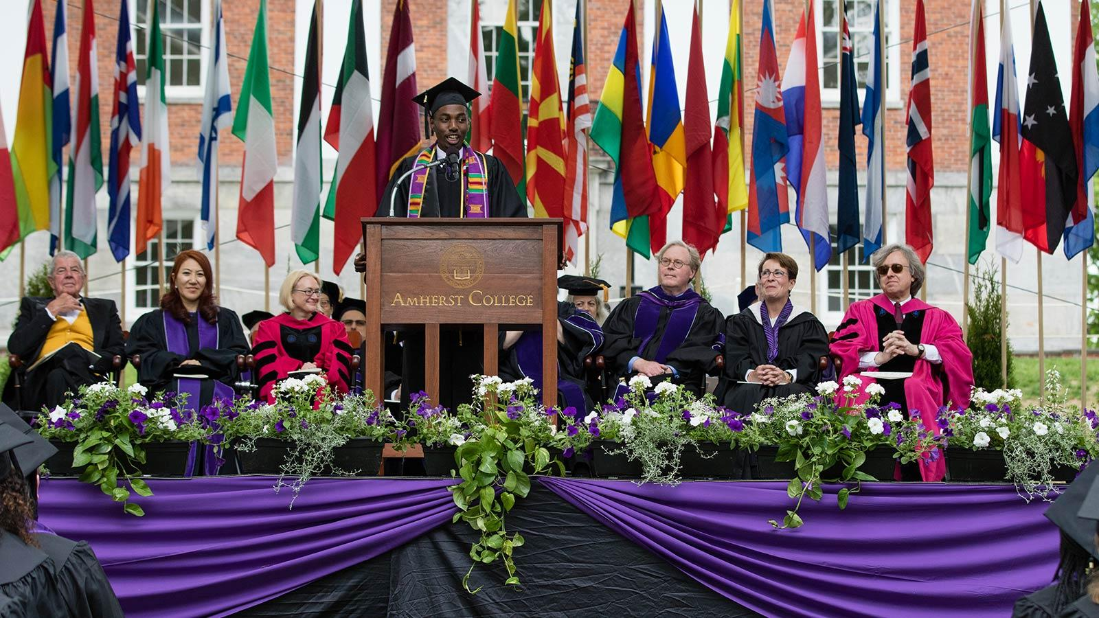 Amir Denzel Hall '17 delivering a commencement address