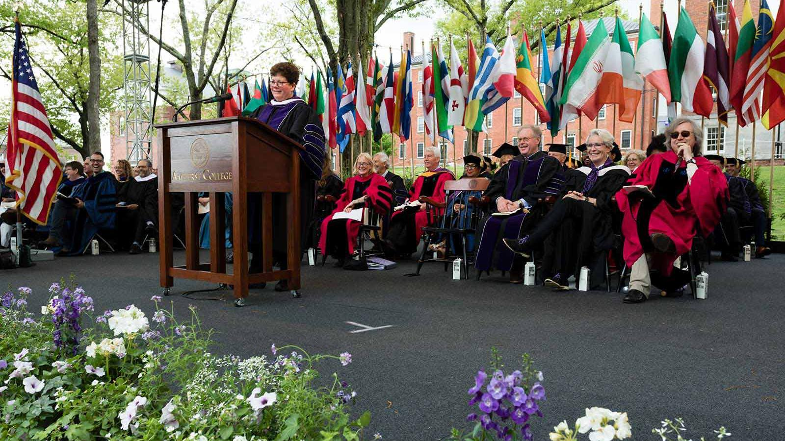 Biddy Martin speaking at Commencement 2018