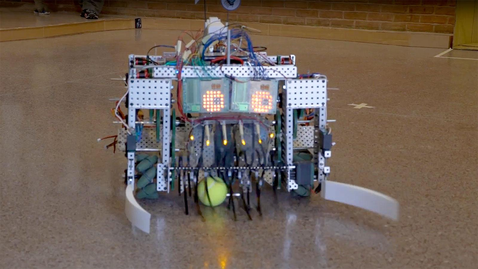 Soccer playing robot built by Amherst College students as a summer research project