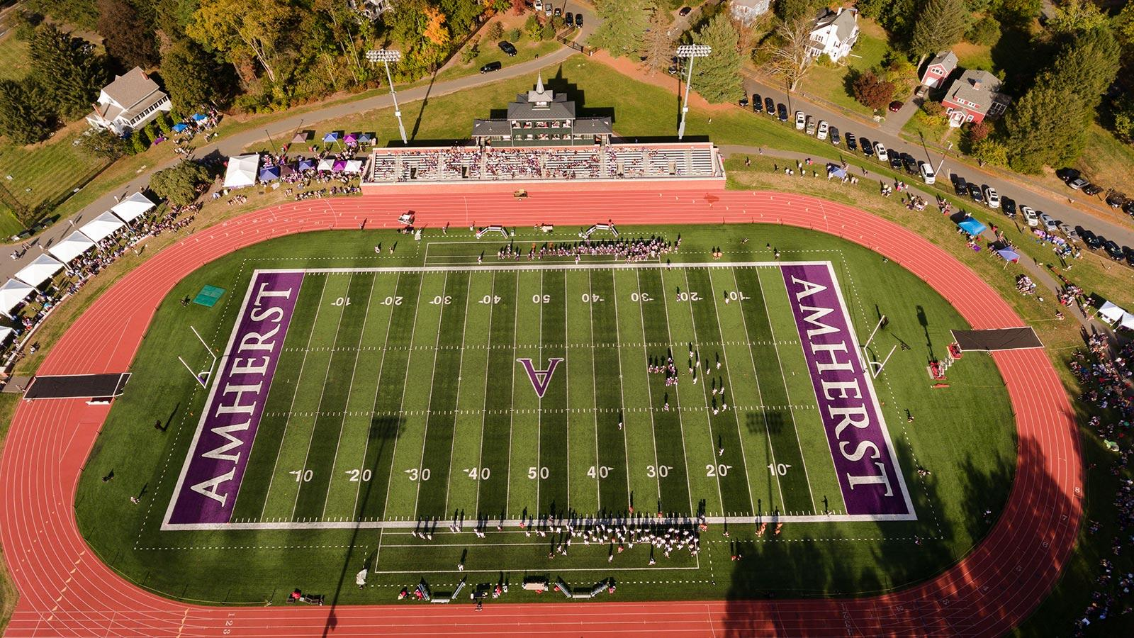 Aerial view of the Amherst College football stadium