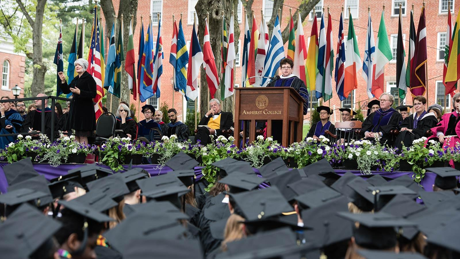 Biddy Martin delivering her Commencement address, May 21, 2017