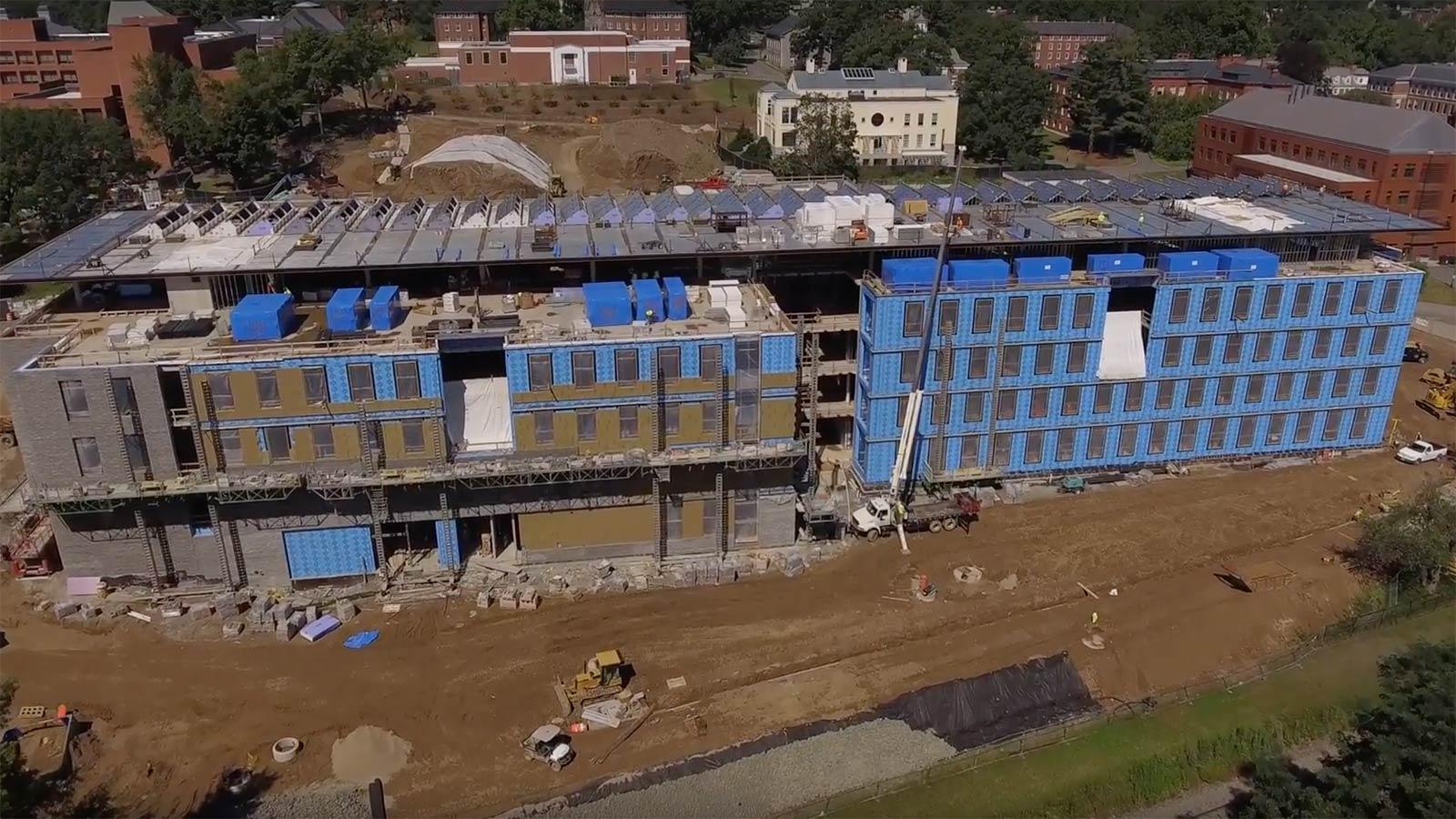 The new Science Center at Amherst College under construction
