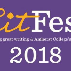 LitFest logo with yellow and white text on purple background that says