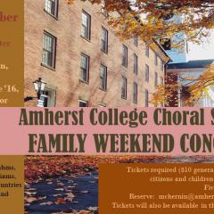 Event poster featuring an orange and brown color scheme and a photo of College Row in autumn