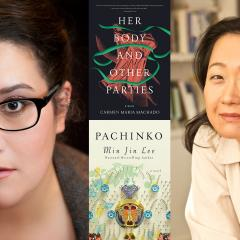 Portraits of authors and their book covers: Carmen Maria Machado (Her Body and Other Paries) and Min Jin Lee with (Pachinko)