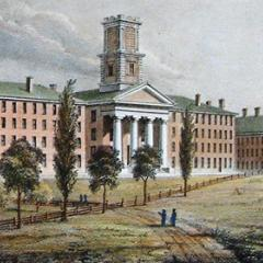Etching of early Amherst College buildings