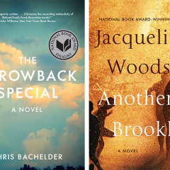 Book covers: Chris Bachelder's The Throwback Special on left and Jacqueline Woodson's Another Brooklyn on right