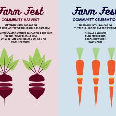 Two event posters: one featuring an illustration of two beets; the other featuring an illustration of three carrots
