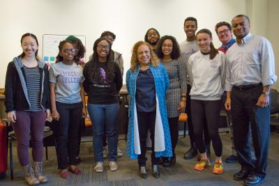 Kellie Jones '81 met with a group of students prior to her talk.