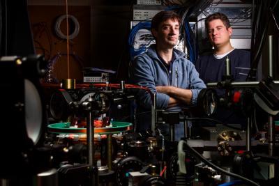 Physics Professor David Hall in a lab